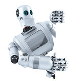 3d Robot with blank banner. . Contains clipping path Royalty Free Stock Photo