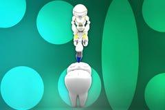 3d robot brush teeth illustration Royalty Free Stock Image