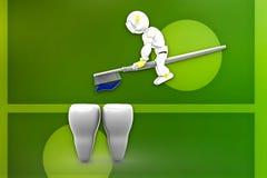 3d robot brush teeth illustration Royalty Free Stock Photography