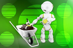 3d robot cement brick illustration Stock Image