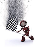 3D robot with chequered flag. 3D render of a robot with a chequered flat with speed effect Royalty Free Stock Photography