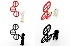 3d robot with cogwheel concept collections with alpha and shadow channel Stock Images