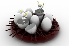 3d robot coming out from eggs Royalty Free Stock Photo