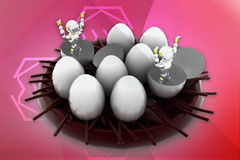 3d robot coming out from eggs illustration Stock Image