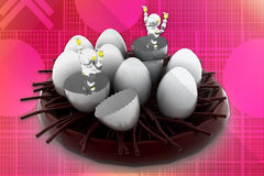 3d robot coming out from eggs illustration Stock Images