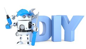 3d robot with DIY sign. . Contains clipping path Royalty Free Stock Photos