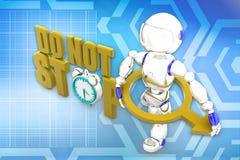 3d robot do not stop Royalty Free Stock Photo