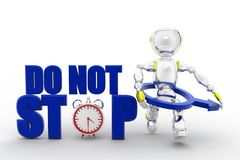 3d robot do not stop Royalty Free Stock Photo