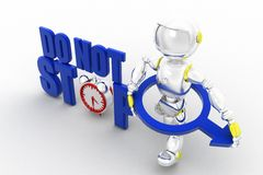 3d robot do not stop Royalty Free Stock Photos
