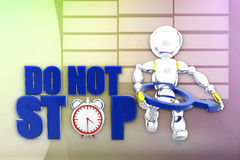 3d robot do not stop illustration Stock Photo