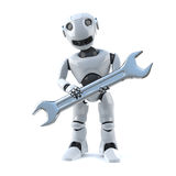 3d Robot does repairs with a spanner Stock Photos