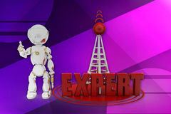3d robot expert illustration Royalty Free Stock Images