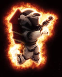 3D robot with firework and explosion. 3D Render of a Robot wearing a firework and explosion effect Royalty Free Stock Photos