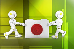 3d robot folder locked illustration Royalty Free Stock Photos
