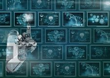 3D robot hand interacting with medical interfaces Royalty Free Stock Image