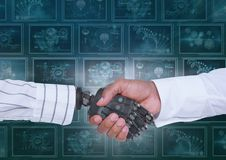 3D robot hand and person shaking hands against background with medical interfaces Royalty Free Stock Images