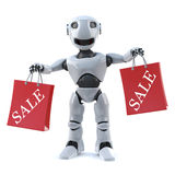 3d Robot has been to the sales. 3d render of a robot holding up two sale shopping bags Royalty Free Stock Photography