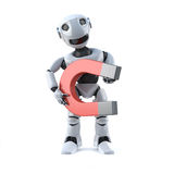 3d Robot has a big magnet Royalty Free Stock Image