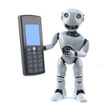 3d Robot has a mobile phone royalty free illustration