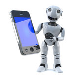 3d Robot has a new smartphone tablet device Royalty Free Stock Photos