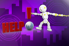 3d robot help illustration Stock Photography