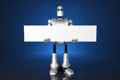 3d Robot holding a blank banner. Contains clipping path. Royalty Free Stock Image