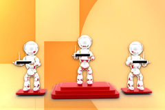 3d robot holding modem illustration Stock Photo