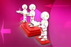 3d robot holding modem illustration Stock Images
