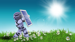 3D robot holding solar panel in daisy landscape Royalty Free Stock Image