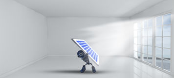 3D robot holding solar panel inside empty room with windows Royalty Free Stock Image