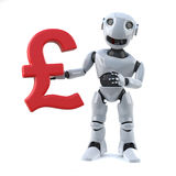 3d Robot holding a UK Pounds Sterling currency symbol. 3d render of a robot holding a UP Pounds Sterling currency symbol royalty free illustration