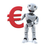 3d Robot holds a Euro currency symbol Stock Images
