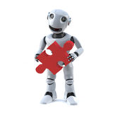 3d Robot holds a piece of the jigsaw puzzle. 3d render of a robot holding a piece of jigsaw puzzle Stock Image