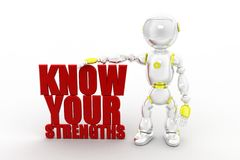 3d robot Know Your Strengths Stock Image