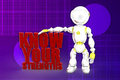 3d robot Know Your Strengths Illustration Royalty Free Stock Photography