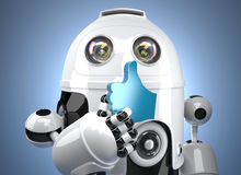 3d robot with LIKE symbol. Contains clipping path Stock Photography
