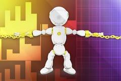 3d robot locked chain illustration Stock Images