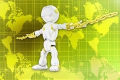 3d robot locked chain illustration Royalty Free Stock Photos