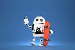 3D Robot met skateboard 3D Illustratie Bevat het knippen weg Stock Afbeelding