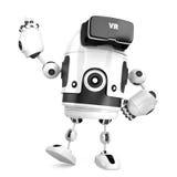 3D robot met VR-glazen 3D Illustratie Geïsoleerde Bevat cl Stock Afbeelding