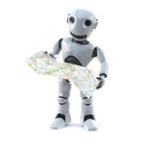 3d Robot navigates using a map. 3d render of a robot reading a map Royalty Free Stock Images