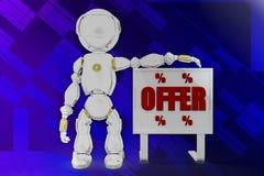 3d robot offer illustration Stock Image