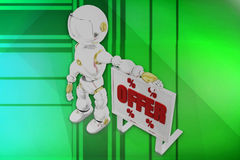 3d robot offer illustration Royalty Free Stock Photography
