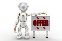 3d robot offer illustration Stock Photo