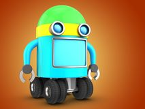 3d robot over orange Royalty Free Stock Image