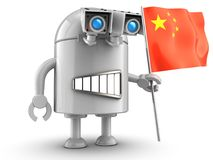 3d robot over white Royalty Free Stock Photography