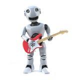 3d Robot plays electric guitar Royalty Free Stock Image