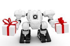 3D Robot with presents Royalty Free Stock Images