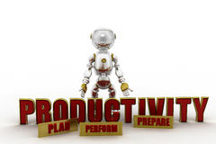 3d robot productivity concept Royalty Free Stock Photography