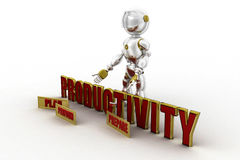 3d robot productivity concept Royalty Free Stock Photos